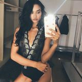 Hui! Model Shanina Shaik sieht so heiß aus, dass sie es für die Nachwelt oder ihren Verlobten, DJ Ruckus, festhalten will.