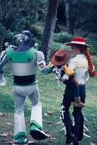"""Wie süß: Justin Timberlake, Sohn Silas und Jessica Biel verkleiden sich als die Charaktere aus """"Toy Story""""."""