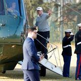 5. November 2017  Nach der Runde Golf mit Japans Premier Shinzo Abe geht es direkt in den Hubschrauber. Die Zeit in Japan ist knapp bemessen.