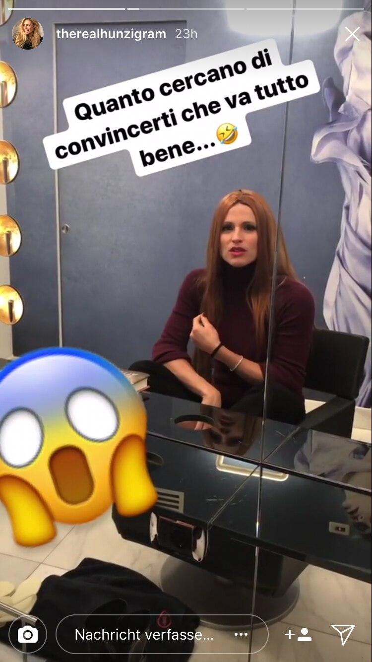 Michelle Hunziker präsentiert sich in ihrer Instagram-Story mit roten Haaren