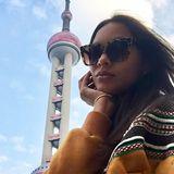 Lais Ribeiro macht nach ihrer Ankunft in Shanghai gleich ein wenig Sightseeing und postet dieses Selfie mit dem berühmten Oriental Pearl Tower, dem dritthöchsten Fernsehturm Asiens.