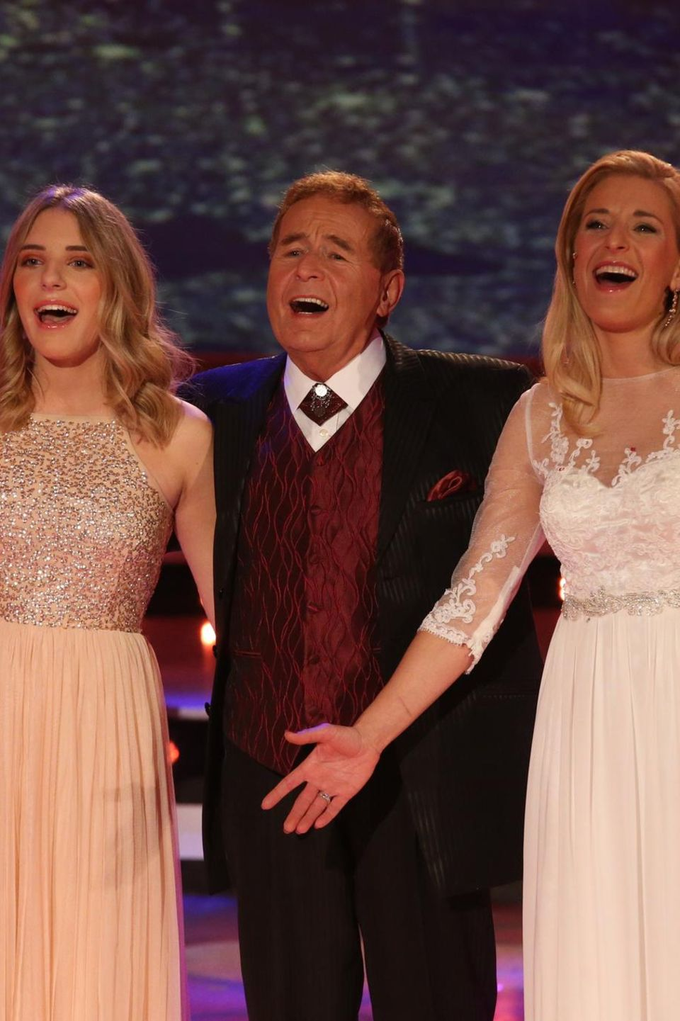 Stefanie Hertel mit Tochter Johanna und Vater Eberhard Hertel