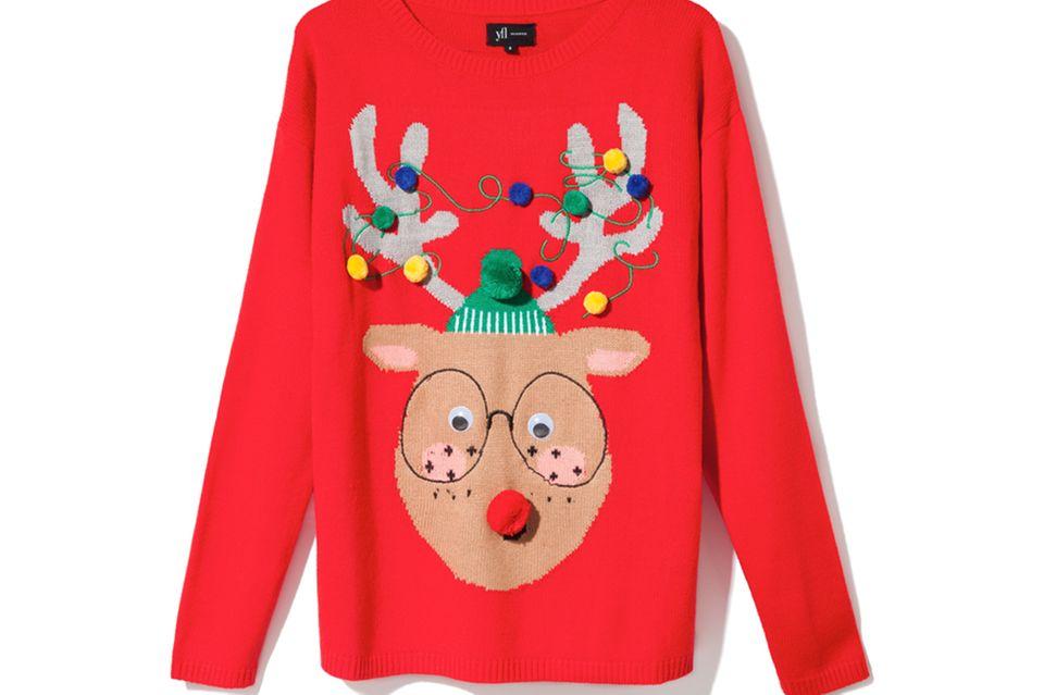 Rudolph, the rednosed Hipster: Weihnachtspullover von Reserved, ca. 20 Euro