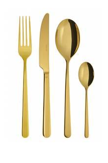 "Glamourös: Edelstahlbesteck ""Linear"" in der Farbe Gold (Sambonet, 30-tlg. ca. 380 Euro, rosenthal.de)"
