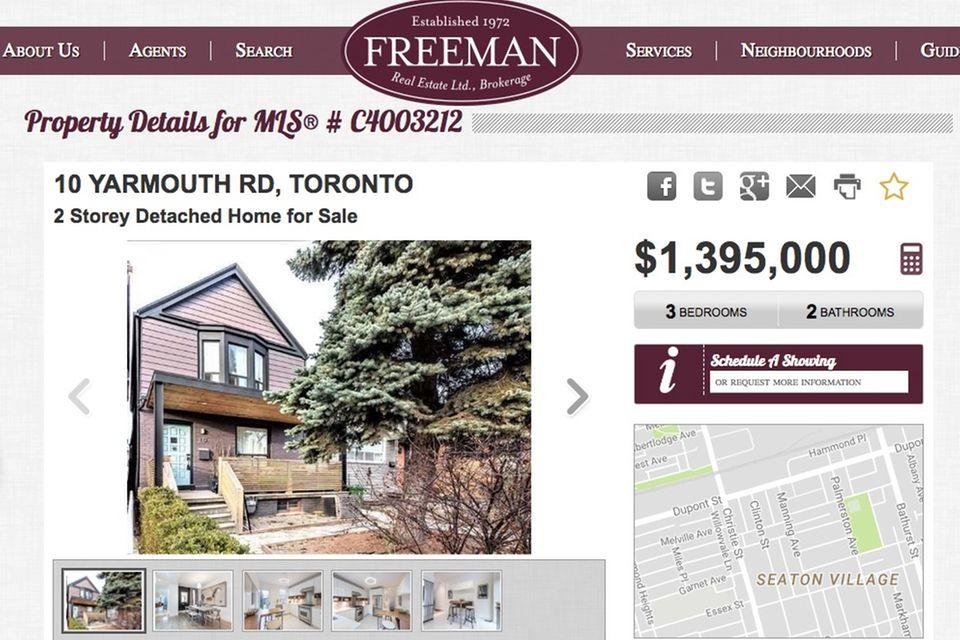 """Die Immobilienfirma """"Freeman Real Estate"""" verkauft Meghan Markles ehemaliges Zuhause in Toronto für 1,395 Millionen kanadische Dollar, das sind umgerechnet rund 920.000 Euro."""