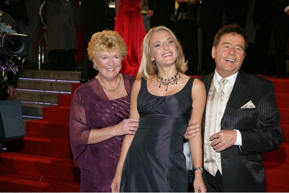 Stefanie Hertel mit ihren Eltern Elisabeth und Eberhard Hertel