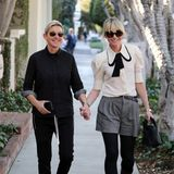 Ein Pärchentraum in Schwarz und Weiß: Ellen DeGeneres und ihre Frau Portia de Rossi haben sich für einen Bummel am Melrose Place farblich perfekt aufeinander abgestimmt.