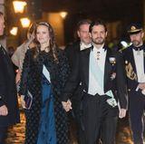 20. Dezember 2017  Händchen haltend verlassen Prinzessin Sofia und Prinz Carl Philip das Börshuset.