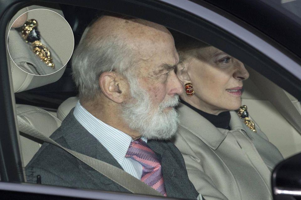 Prinzessin Michael mit Ehemann Michael von Kent im Auto: An ihrem Revers die umstrittene Brosche.