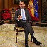 23. Dezember 2017  König Felipe hält die traditionelle Weihnachtsansprache aus dem Zarzuelapalast in Madrid.