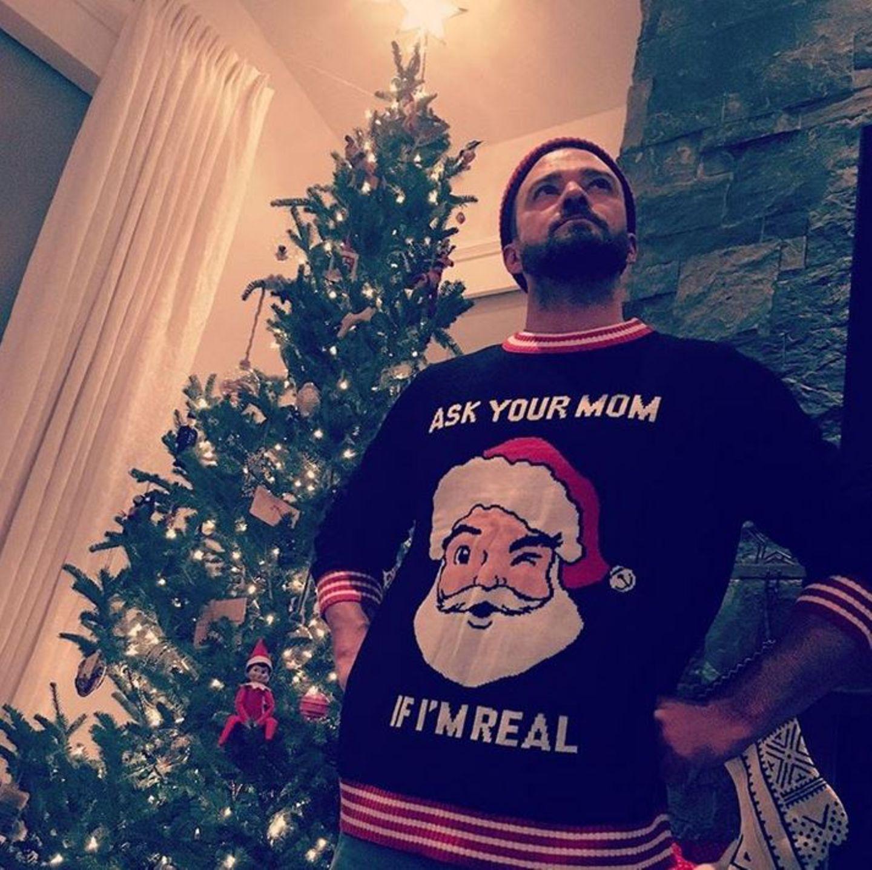 Mit diesem Pullover beweist Justin Timberlake seinen Sinn für Humor.