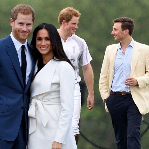 Prinz Harry mit Meghan Markle und Charlie van Straubenzee