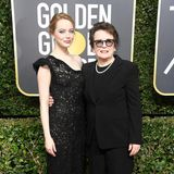 Modisches Film-Duo: Emma Stone (in Louis Vuitton) und die Tennis-Legende Billie Jean King