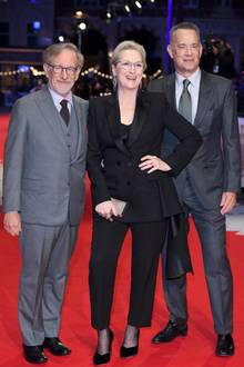 "10. Januar 2018  Große Film-Premiere in London: Steven Spielberg, Meryl Streep und Tom Hank bilden das Stardreiergespann um den Kinofilm ""The Post""."