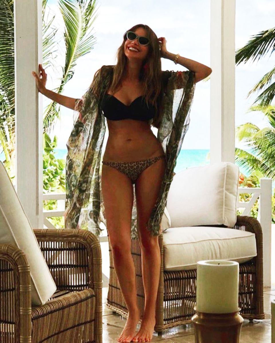 """Wow! """"Modern Family""""-Star Sofia Vergara präsentiert ihre weiblichen Kurven am liebsten im Bikini. Beim Anblick dieses sexy Instagram-Fotos der 45-jährigen Schauspielerin wird die ein oder andere jüngere Kollegin sicherlich neidisch werden."""
