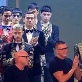 Die Fashion-Nachwuchsförderer nach der Show: Domenico Dolce und Stefano Gabbana
