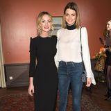 Model Eva Padberg strahlt mit der Designerin Lana Mueller um die Wette.