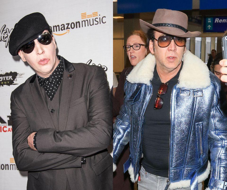 Da müsste selbst Schock-Rocker Marilyn Manson nicht schlecht staunen: Spätestens dank seines gewöhnungsbedürftigen Outfits ist die Ähnlichkeit von Hollywoodstar Nicholas Cage zu dem Sänger kaum zu übersehen. Man stelle sich Cage mit hellem Make-up vor; der Schauspieler könnte dank der ähnlichen Gesichtszüge glatt als Doppelgänger einspringen.
