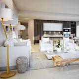 Das großzügige Apartment des Produzenten Timbaland besteht aus sechs Schlaf- und acht Badezimmern. Helles Holz und die Farbtöne Grau und Weiß dominieren ganz klar.