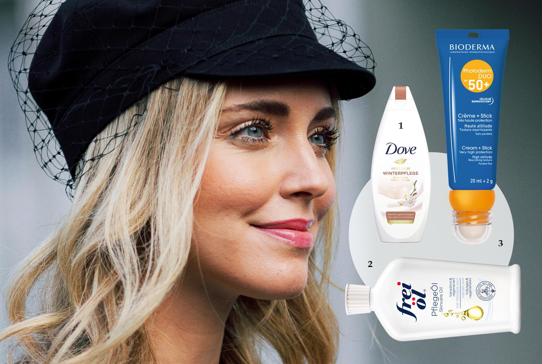 """1.Schaumschläger mit einem Viertel Anteil an Feuchtigkeitscreme: """"Cremedusche Winterpflege"""" von Dove, 250 ml, ca. 3 Euro, limitiert; 2.Pflanzenöl-Cocktail für den Body: """"Pflege Öl"""" von Frei Öl, 125 ml, ca. 12 Euro; 3.2-in-1-Sonnenschutz für Lippen und Teint: """"Photoderm Duo SPF 50+"""" von Bioderma, 20 ml + 2 g, ca. 15 Euro"""