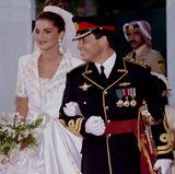 Prinz Abdullah bin al-Hussein von Jordanien sagt am 10. Juni 1993 Ja zur Arzttochter Rania Faisal Yasin.