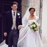 Lady Sarah Armstrong-Jones, die Nichte von Queen Elizabeth, hat in Daniel Chatto ihren Traumprinzen gefunden. Strahlend kommen sie an ihrem Hochzeitstag, dem 14. Juli 1994, aus der kleinen Londoner Kirche.