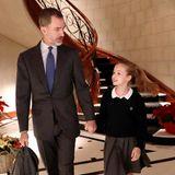 17. Januar 2018  Keine Arbeit für Bedienstete: Frühmorgens bringt König Felipe seine Tochter Leonor höchstpersönlichzur Schule.