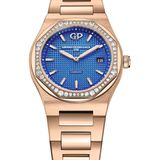 """Die """"blaue Stunde"""" leuchtet in einem diamantbesetzten Roségoldgehäuse. Von Girard Perregaux"""