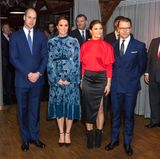 """Schweden - Tag 2  Prinz William, Herzogin Catherine, Prinzessin Victoria und Prinz Daniel werden in der """"Fotografiska"""" Galerie zum Thema schwedische Kultur empfangen."""