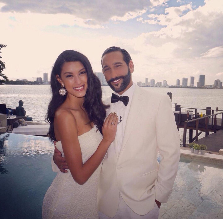 7. April 2017  Rebecca Mir und Massimo Sinato im weißen Partnerlook in Miami.