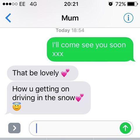 Das schrieb Amy's Mutter ihr, als sie bei Schnee und Eis mit dem Auto unterwegs war.