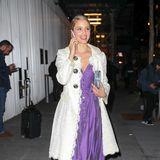 Auch Dianna Agron bringt schon sommerlichen Flair in Weiß und Lila zur Fashion Week.