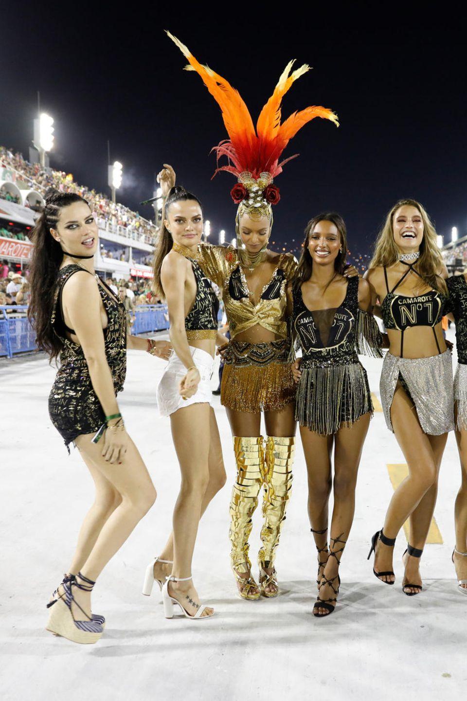 12. Februar 2018  Die Victoria Secret Models haben sichtlich Spaß bei der Karnevalsause in Brasilien.