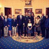 """13. Februar 2018  Die First Lady und der Präsident empfangen im Rahmen des """"National African American History Month"""" Gäste in ihrem Amtssitz. Auch hier gelingt Melania das Lachen."""