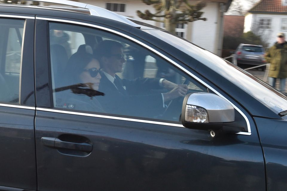 14. Februar 2018   Prinzessin Marie und Henriks Sohn Prinz Joachim bei der Ankunft am Schloss Fredensborg.