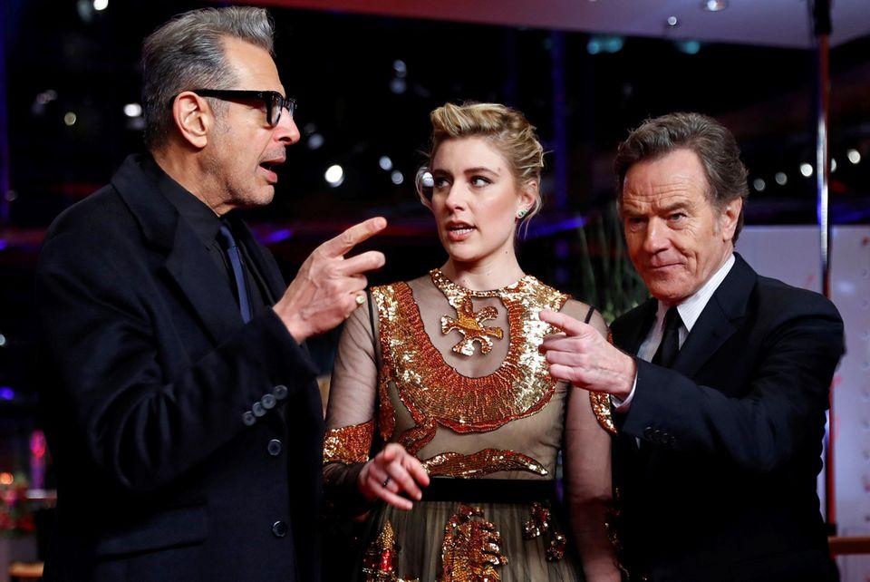 Wo soll's hingehen? Jeff Goldblum, Greta Gerwig und Bryan Cranston scheinen sich da nicht ganz einig zu sein.