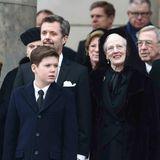 20. Februar 2018  Prinz Christian steht bei seiner Großmutter. Hinter der Königin ihr Schwager, der ehemalige griechische König Konstantin sowie links von Prinz Frederik ihre andere Schwester Prinzessin Benedikte (verdeckt).