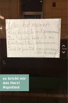 Dieser Aushang hing an einer Haltestelle in Köln.