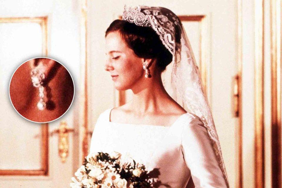 Auf den offiziellen Hochzeitsporträts von 1967 trägt Prinzessin Margrethe die Ohrringe.