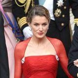 Am 14. Mai 2004 begleitetLetizia Ortiz Rocasolano ihren Verlobten, den spanischen Kronprinzen Felipe, zur Hochzeit von Prinz Frederik und Mary Donaldson nach Kopenhagen. Ein großer Auftritt für die Moderatorin, der aber noch ohne Diadem auskommen muss. Das gibt es erst zur Hochzeit.