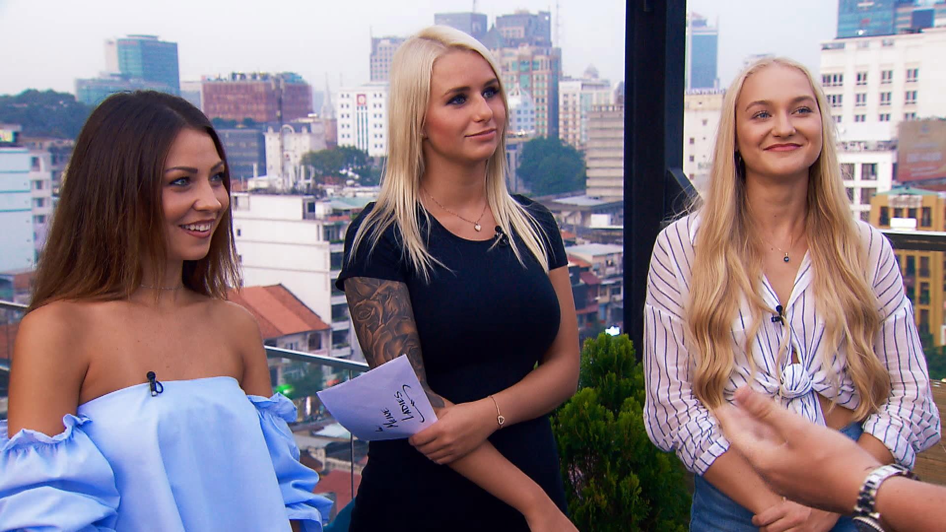 """Kristina, Carina und Svenja (v.l.n.r.) sind die letzten drei Kandidatinnen bei """"Der Bachelor"""" 2018"""