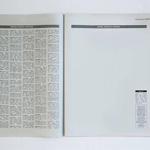 Diese Doppelseite in einer Zeitung ist voller Todesanzeigen - mit Ausnahme von einer Geburtsanzeige.