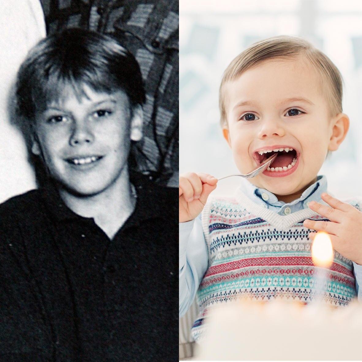 Ein Schulfoto von Daniel Westling aus dem Jahr 1987 und das aktuelle Geburtstagsfoto von Prinz Oscar zeigen die Ähnlichkeit.