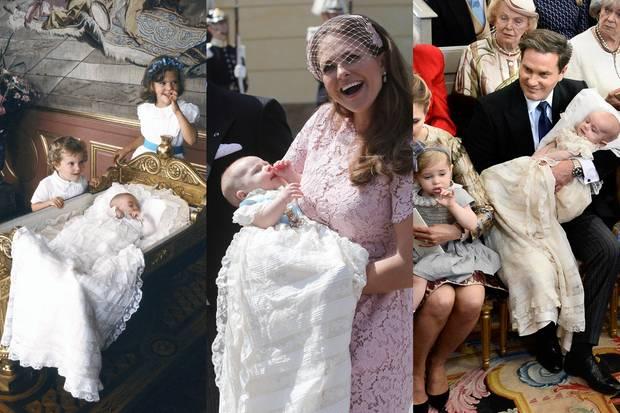 In 1982 trägt Prinzessin Madeleine das Taufkleid noch selbst. 32 Jahre später - im Juni 2014 - darf sie ihrem ersten Töchterchen, Prinzessin Leonore, das Erbstück anziehen, im Oktober 2015 dann ihrem ersten Sohn, Prinz Nicolas. Und bald darf auch Prinzessin Adrienne in den Traum aus Spitze schlüpfen.