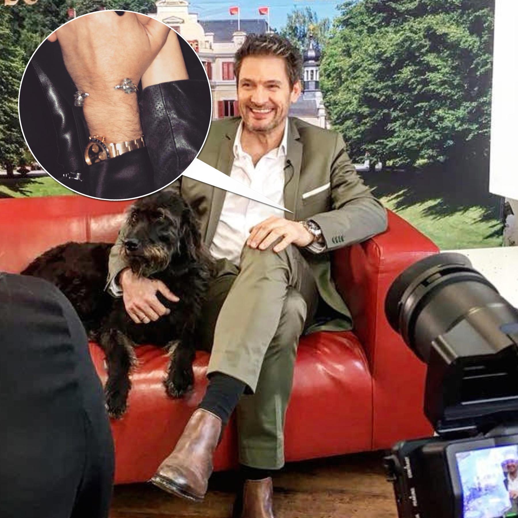 Das große Foto zeigt Dieter Bach während eines Interviews in den Bavaria Studios. Das kleine Foto zeigt die Hände von Larissa Marolt und ihrem heimlichen Freund. Verdächtig: Die sich ähnelnde Uhr