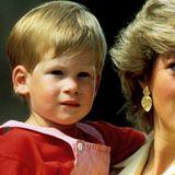 1987  Im Mallorca-Urlaub bekommt Prinz Harry einen leicht gebräunten Teint, der seine hellen Augenbrauen noch mehr hervorhebt.