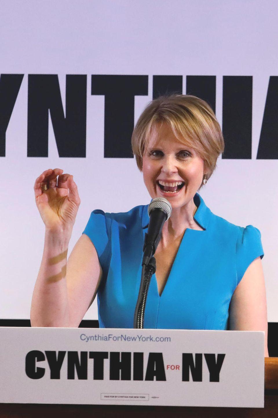 20. März 2018  Frauenpower an die Macht.Schauspielerin Cynthia Nixon gibt bekannt, dass sie bei einem Wahlkampf in Brooklyn für den Gouverneur von New York kandidiert.