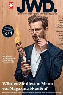 """Das Reportagemagazin """"JWD"""" ist das jüngste Baby des Verlags Gruner + Jahr, in dem auch GALA erscheint. Joko Winterscheidt – 1,91 Meter groß – trägt den Titel """"Editor-at-very-large"""" (164 Seiten plus Extra-Booklet, 4,40 Euro, jetzt im Handel, zehn Ausgaben pro Jahr)"""