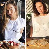 Supermodel Alexis Ren posiert im weißen Shirt mit perfekt aufgemalten Brüsten vor einem Pancake. Celeste Barber parodiert die Szene - nur in ihrer eigenen Version mit aufgemalten Hängebrüsten und Weißbrot.