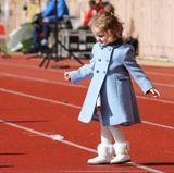 31. März 2018  Auch die kleine Prinzessin Gabriella zeigt Interesse am Rugby-Sport.